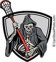 Grim Reaper Lacrosse Player Crosse Stick Retro -...