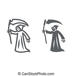 Grim Reaper line and solid icon, Halloween concept, Death with scytheman sign on white background, grim reaper with scythe icon in outline style for mobile concept and web design. Vector graphics.