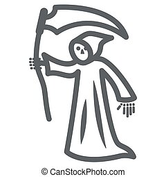 Grim Reaper line icon, Halloween concept, Death with scytheman sign on white background, grim reaper with scythe icon in outline style for mobile concept and web design. Vector graphics.