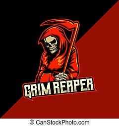 grim reaper mascot logo template