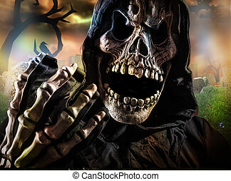 Grim reaper on a dark background, halloween background.