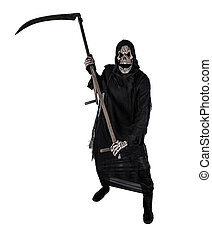 Grim reaper on a white background, halloween background.