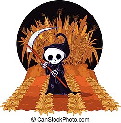Grim Reaper on Corn Maze - Halloween Grim reaper with scythe...
