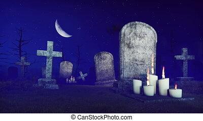 Grim reaper on spooky night cemetery 4K