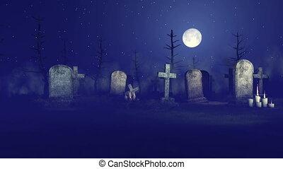 Grim reaper on spooky night graveyard 4K - Abandoned...
