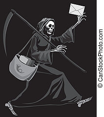Grim Reaper delivering letter. Eps8. CMYK. Organized by layers. Gradients free. Global colors.
