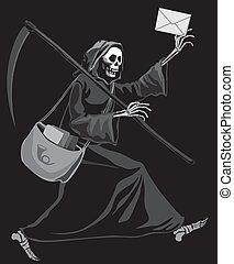 Grim Reaper postman - Grim Reaper delivering letter. Eps8....