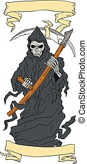 Grim Reaper Scythe Scroll Drawing - Drawing sketch style...