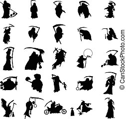 Grim reaper silhouette set isolated on white background
