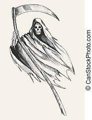 Grim Reaper - Sketch illustration of grim reaper