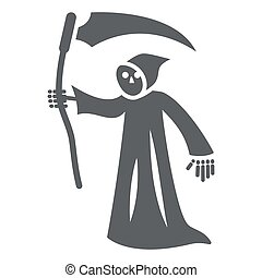 Grim Reaper solid icon, Halloween concept, Death with scytheman sign on white background, grim reaper with scythe icon in glyph style for mobile concept and web design. Vector graphics.