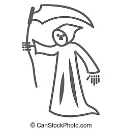 Grim Reaper thin line icon, Halloween concept, Death with scytheman sign on white background, grim reaper with scythe icon in outline style for mobile concept and web design. Vector graphics.