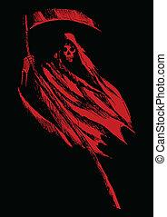 Grim Reaper - Sketch illustration of grim reaper on black...