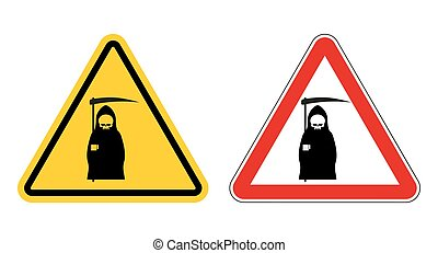 grim reaper warning sign of attention. Death Danger Yellow sign. Death on red triangle. Set of Road signs of grim reaper on white background