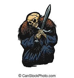 grim reaper warrior illustration.cartoon illustration
