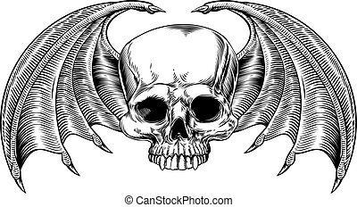 Grim Reaper Winged Skull - A skull and bat or dragon wings...