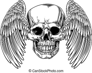 Grim Reaper Winged Skull - Winged skull drawing in a vintage...