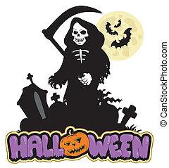 Grim reaper with Halloween sign - vector illustration.