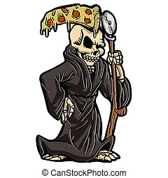 Grim reaper with pizza sickle .cartoon illustration