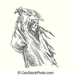Grim reaper with scythe for halloween