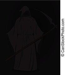 Grim reaper with scythe in dark