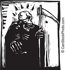 Grim Reaper - woodcut style Grim reaper with a scythe