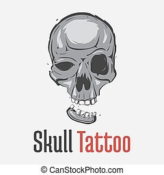 Grim skull tattoo with separated smiling jaw. Spooky and ...