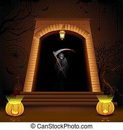 Grim standing on Hell Gate - illustration of grim holding...