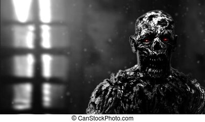 Grim zombie apocalyptic face