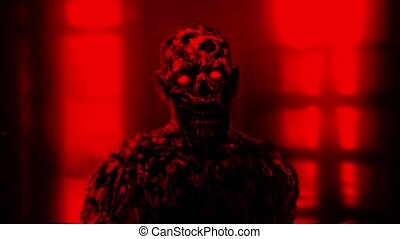 Grim zombie apocalyptic face. Red background - Grim zombie...