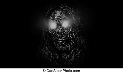 Grim zombie woman face emerging from the dark. Animation in...