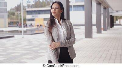 grimacer, femme, optimiste, business