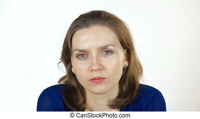 Grimacing caucasian woman - Footage of young caucasian woman...