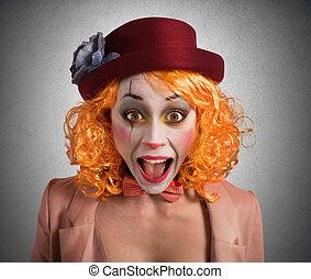 grimasse, clown