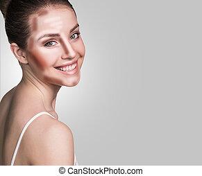 grimer, femme, face., contour, et, souligner, makeup.