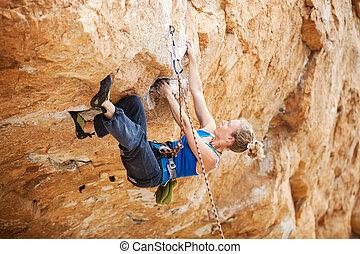 grimer, suivant, rocher, lutter, grimpeur, mouvement