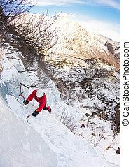 grimpeur, chute glace