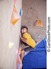 grimpeur mur, artificiel, homme