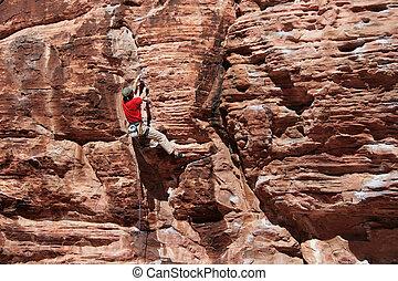 grimpeur, rocher rouge