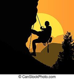grimpeur, sur, coucher soleil, fond