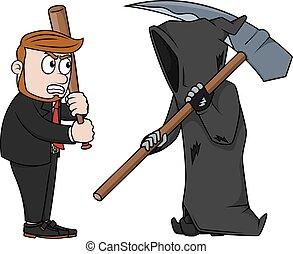 grimreaper, vs, homme affaires