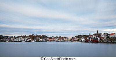 Grimstad city seen from a distance, Norway, Europe. Panorama
