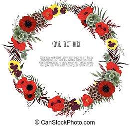 grinalda, anemone, floral, folhas, eucalipto, verde, vetorial, flores, jardim