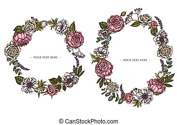grinalda, colorido, anemone, viburnum, peony, eucalipto, rosas, floral, lavanda