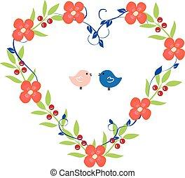 grinalda coração, com, pássaros