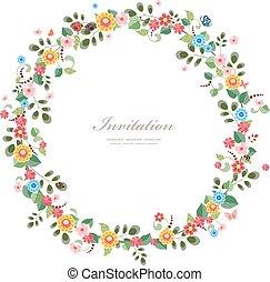 grinalda, desenho, convite, floral, seu, cartão