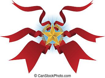 grinalda, estrela, escudo, fita, fluir