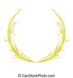 grinalda, laurel, orelhas, redondo, coroa, ouro, lâminas, trigo, ou, centeio, grass., cevada, marrom