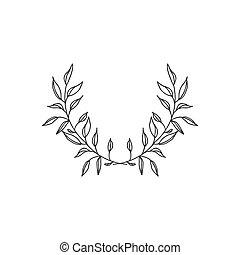 grinalda, mão, fundo, floral, desenhado, branca
