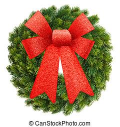 grinalda natal, com, fita vermelha, arco, isolado, branco